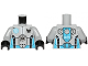 Part No: 973pb1271c01  Name: Torso Galaxy Squad Robot with Dark Azure and Black Piping Pattern / Light Bluish Gray Arms / Black Hands