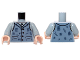 Part No: 973pb1430c01  Name: Torso Shirt and Sand Blue Vest Tattered with 4 Buttons Pattern / Light Bluish Gray Arms / Light Nougat Hands