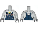 Part No: 973pb1500c01  Name: Torso Shirt with Dark Blue Overalls with Burn Holes and Copper Buckles Pattern / Light Bluish Gray Arms / Dark Bluish Gray Hands