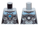 Part No: 973pb1628  Name: Torso Chima Female Outline with Bright Light Blue Chest, Silver Armor and Buckles and Dark Azure Round Jewel (Chi) Pattern