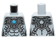 Part No: 973pb1633  Name: Torso Chima Silver Armor with Straps and Blue Round Jewel (Chi) Pattern