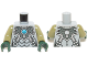 Part No: 973pb1633c02  Name: Torso Chima Silver Armor with Straps and Blue Round Jewel (Chi) Pattern / Olive Green Arms / Dark Green Hands