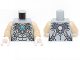 Part No: 973pb1633c03  Name: Torso Chima Silver Armor with Straps and Blue Round Jewel (Chi) Pattern / Tan Arms / White Hands