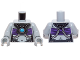 Part No: 973pb1638c01  Name: Torso Chima Female Outline with Black Armor, Dark Purple Top and Blue Round Jewel (Chi) Pattern / Light Bluish Gray Arms / Light Bluish Gray Hands