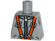 Part No: 973pb1788  Name: Torso Spacesuit with Silver Zipper and Orange Harness Pattern
