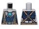 Part No: 973pb1894  Name: Torso Feathers, Dark Blue Shirt, Dark Tan Belt and Suspenders and Blue Round Jewel (Chi) Pattern