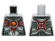 Part No: 973pb2030  Name: Torso Chima Female Outline with Chains, Dark Red Armor and Orange Round Jewel (Fire Chi) Pattern