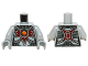 Part No: 973pb2030c01  Name: Torso Chima Female Outline with Chains, Dark Red Armor and Orange Round Jewel (Fire Chi) Pattern / Light Bluish Gray Arms / Light Bluish Gray Hands