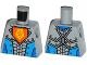 Part No: 973pb2256  Name: Torso Nexo Knights Armor with Orange Emblem with Yellow Crowned Lion, Dark Azure Panels Pattern