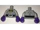 Part No: 973pb2539c01  Name: Torso Batman Logo in Yellow Oval with Muscles and Black Belt with Bat on Buckle Pattern / Light Bluish Gray Arms / Dark Purple Boxing Gloves