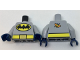 Part No: 973pb2679c01  Name: Torso Batman Logo in Yellow Oval, Yellow Belt with Gold Buckle, Orange and Lime Moth on Back Pattern / Light Bluish Gray Arms / Dark Blue Hands
