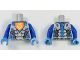 Part No: 973pb2896c01  Name: Torso Nexo Knights Armor with Orange Emblem with Yellow Crowned Lion, Silver Panels Pattern / Blue Arms / Dark Azure Hands