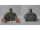 Part No: 973pb3477c01  Name: Torso Female Jacket with Buttons over Tan Shirt Pattern / Light Bluish Gray Arms / Light Flesh Hands