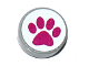 Part No: 98138pb067  Name: Tile, Round 1 x 1 with Magenta Paw Print on White Background Pattern (Sticker) - Set 41124