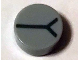 Part No: 98138pb173  Name: Tile, Round 1 x 1 with Black Y Pattern (BrickHeadz Carbonized Eye)