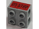 Part No: BA173pb01  Name: Stickered Assembly 2 x 2 x 1 with Black 'nO STeP' On Red Background Pattern (Sticker) - Set 8141 - 2 Technic, Brick 1 x 2 with Holes