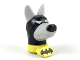 Part No: acepb01  Name: Dog Head with Black Cowl and Nose and Yellow Collar with Black Batman Logo Pattern (Ace the Bat-Hound)