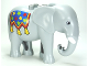 Part No: eleph3c01pb02  Name: Duplo Elephant Adult Stationary Head with Molded Tusks with Blue Blanket with Stars and Tassels Pattern