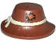 Part No: 13788pb01  Name: Minifigure, Headgear Hat, Wide Floppy Brim with Knotted Tan Band and Patch Pattern