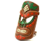 Part No: 13791pb01  Name: Minifigure, Tiki Mask with Red, Green and Tan Tribal Pattern