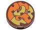 Part No: 14769pb090  Name: Tile, Round 2 x 2 with Bottom Stud Holder with Orange and Yellow Tentacles Pattern
