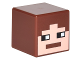 Part No: 19729pb018  Name: Minifigure, Head Modified Cube with Minecraft Pixelated Face with Reddish Brown Hair Pattern