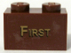 Part No: 3004pb074  Name: Brick 1 x 2 with Gold 'FIRST' Pattern (Sticker) - Set 10194