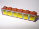Part No: 3009pb101  Name: Brick 1 x 6 with 6 Yellow Windows Pattern (Sticker) - Set 10144