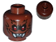 Part No: 3626cpb0773  Name: Minifigure, Head Alien with Fangs, Red Eyes and Black Fur Pattern - Hollow Stud