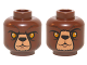 Part No: 3626cpb1252  Name: Minifigure, Head Dual Sided Alien Chima Bear with Black Nose, Yellow Eyes, Dark Brown Fur, Stern / Raised Eyebrow Pattern (Bulkar) - Hollow Stud