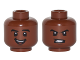 Part No: 3626cpb1267  Name: Minifigure, Head Dual Sided Black Eyebrows, White Pupils, Open Mouth Smile  / Clenched Teeth Pattern (Cyborg) - Hollow Stud