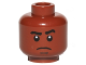 Part No: 3626cpb1429  Name: Minifigure, Head Black Eyebrows, White Pupils, Dark Tan Chin Dimple, Sad Pattern - Hollow Stud
