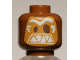 Part No: 3626cpb1704  Name: Minifigure, Head Alien Mask Medium Dark Flesh with Dark Brown Eyes and White Eyebrows and Triangular Teeth Pattern (Kakamora) - Hollow Stud