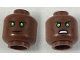 Part No: 3626cpb1860  Name: Minifigure, Head Dual Sided Black Eyebrows, Green Eyes with White Glints, Smirk / Angry Pattern - Hollow Stud