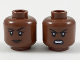 Part No: 3626cpb2096  Name: Minifigure, Head Dual Sided Female, Black Eyebrows, Dark Brown Lips, Lopsided Grin / Gritted Teeth Pattern - Hollow Stud