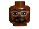 Part No: 3626cpb2161  Name: Minifigure, Head Glasses Wire Frame with Trimmed Beard Pattern (Will.i.am) - Hollow Stud