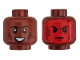Part No: 3626cpb2253  Name: Minifigure, Head Dual Sided Black Eyebrows and Cheek Lines, Smile / Red Heads Up Display with Dark Red Shapes Pattern - Hollow Stud
