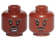 Part No: 3626cpb2496  Name: Minifigure, Head Dual Sided Black and Gray Moustache and Eyebrows, Lopsided Grin / Closed Mouth Pattern (SW Lando) - Hollow Stud