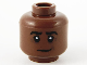 Part No: 3626cpb2677  Name: Minifigure, Head Black Eyebrows Lopsided Grin, Dark Brown Contour Lines Pattern