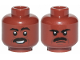 Part No: 3626cpb2693  Name: Minifigure, Head Dual Sided Black Eyebrows, Moustache, Dark Brown Lines, Smile / Angry Pattern (Greef Karga) - Hollow Stud