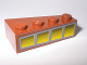 Part No: 41768pb01  Name: Wedge 4 x 2 Left with 4 Yellow Windows Pattern (Sticker) - Set 10144