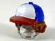 Part No: 53980pb01  Name: Minifigure, Hair Combo, Hair with Hat, Bushy Hair with Blue Ball Cap with White Front and Red Bill Pattern