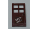 Part No: 60623pb04  Name: Door 1 x 4 x 6 with 4 Panes and Stud Handle with Black Wood Grain and White 'KEEP OUT!' Pattern (Sticker) - Set 60131