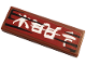 Part No: 63864pb088  Name: Tile 1 x 3 with White Kanji Characters on Dark Red Background Pattern 2 (Sticker) - Set 70667