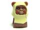 Part No: 64805pb02  Name: Minifigure, Head Modified SW Ewok with Tan Hood with Dark Orange Feathers Pattern