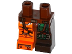 Part No: 970d31pb01  Name: Minifigure, Legs with Hips - 1 Dark Brown Left Leg with Green Armor and Knee Belt, 1 Orange Right Leg with Black and Silver Bolted Armor Plates Pattern