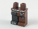 Part No: 970d43pb01  Name: Minifigure, Legs with Hips - 1 Reddish Brown Left Leg, 1 Pearl Dark Gray Right Leg with Cybernetic Leg Pattern