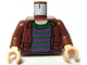 Part No: 973pb0315c01  Name: Torso Harry Potter Open Shirt and Striped Sweater Pattern / Reddish Brown Arms / Light Flesh Hands