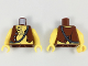Part No: 973pb0523c01  Name: Torso Pirate Vest and Anchor Tattoo, Chest Hair Pattern / Yellow Arms / Yellow Hands