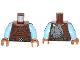 Part No: 973pb1488c01  Name: Torso SW Weequay Pattern / Bright Light Blue Arms / Medium Nougat Hands